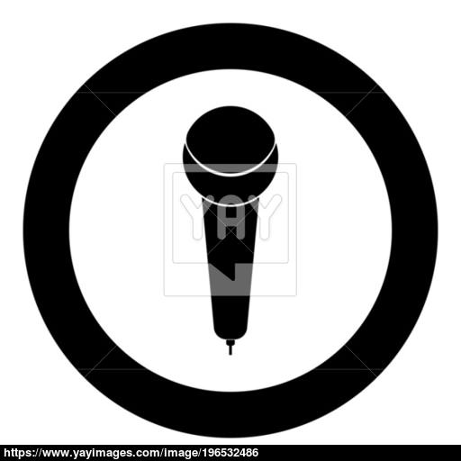 Microphone Icon Black Color In Circle Or Round Vector