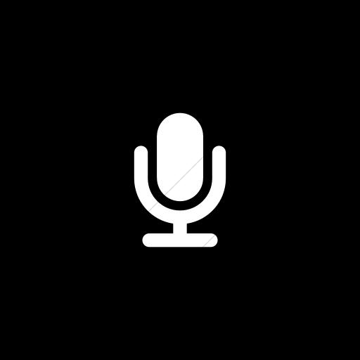 Flat Circle White On Black Foundation Microphone Icon