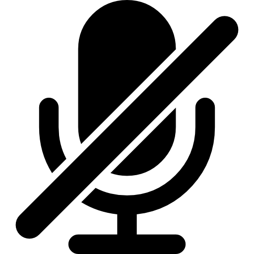 Microphone With Slash Interface Symbol For Mute Audio
