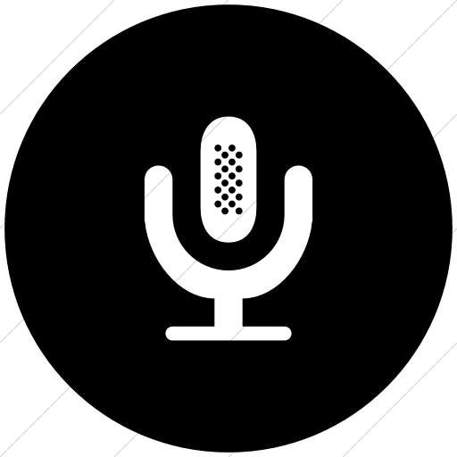 Flat Circle White On Black Broccolidry Microphone Icon