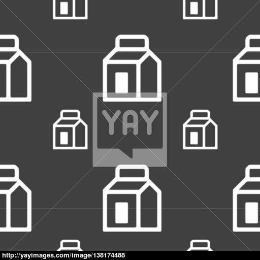 Milk, Juice, Beverages, Carton Package Icon Sign Seamless Pattern