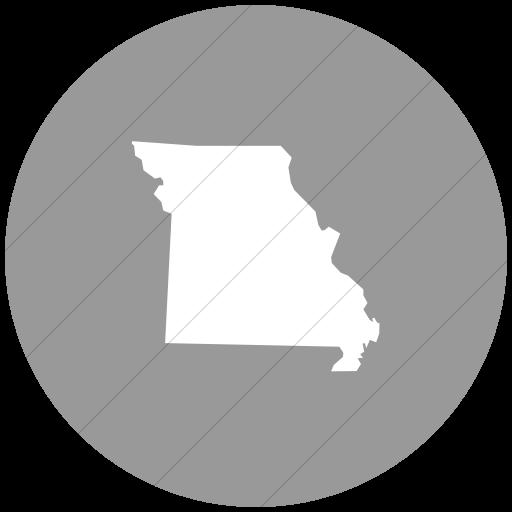 Flat Circle White On Light Gray Us States Missouri Icon