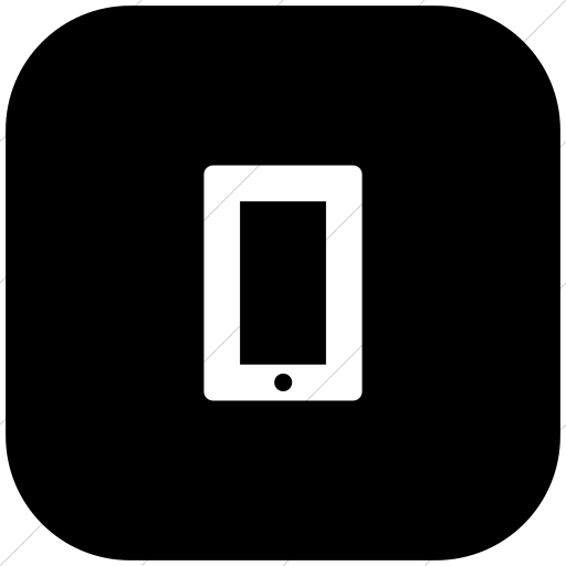 Flat Rounded Square White On Black Foundation Mobile Icon