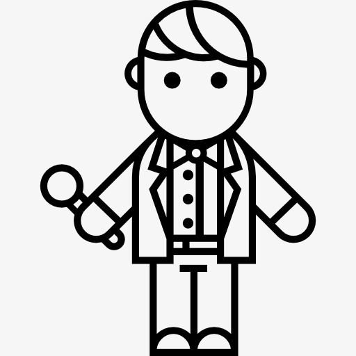 Black And White Moderator Icon, Cartoon, Host, Microphone Png