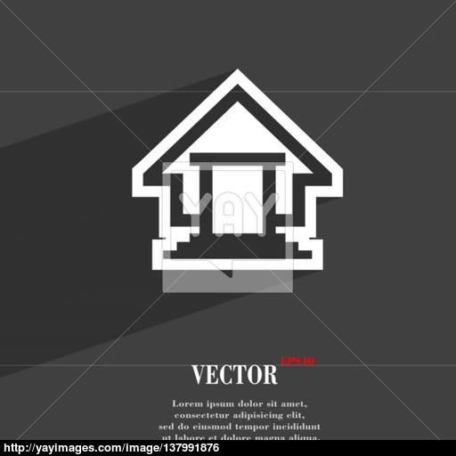 House Icon Symbol Flat Modern Web Design With Long Shadow