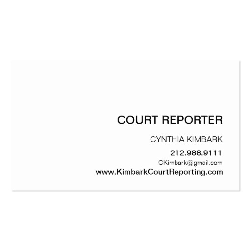 Modern Icon Silhouette Court Reporter Eggshell Business Card