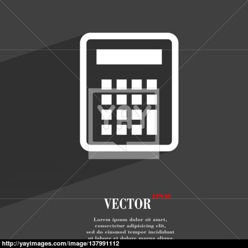 Calculator Icon Symbol Flat Modern Web Design With Long Shadow