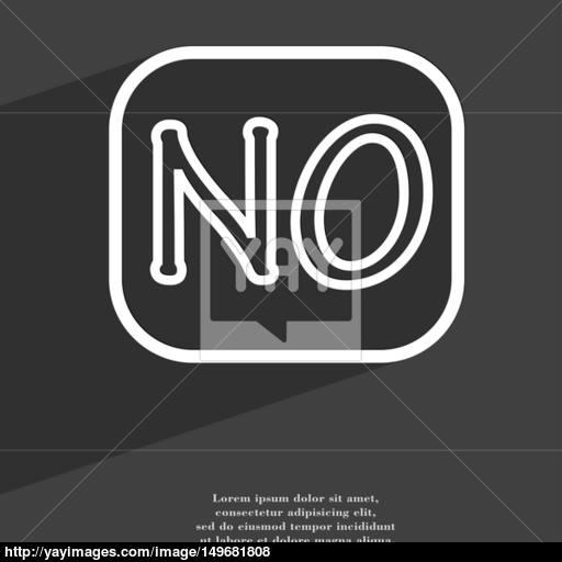 No Norway Translation Icon Symbol Flat Modern Web Design With Long