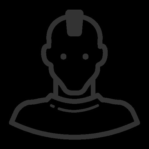 Glyph Avatar Mohawk Punk Man R, Glyph, Menu Icon Png And Vector