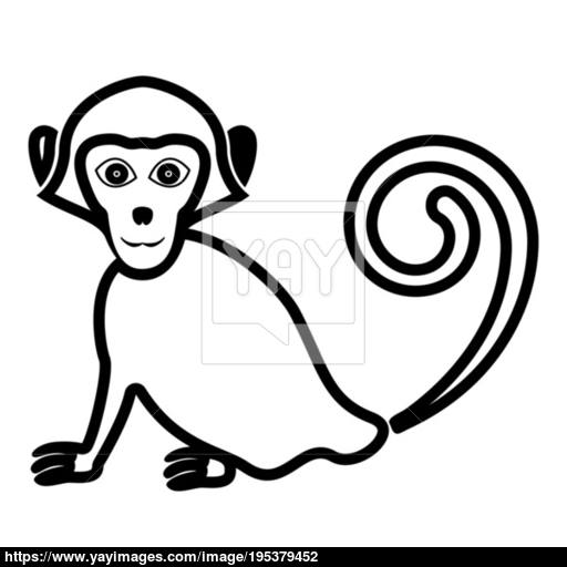Monkey Icon Black Color Fill Flat Style Vector