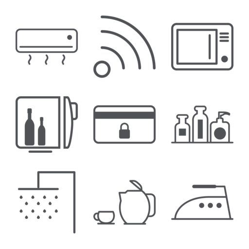 Hotel Features Icons Set Free Vector Icon Packs Free Vector
