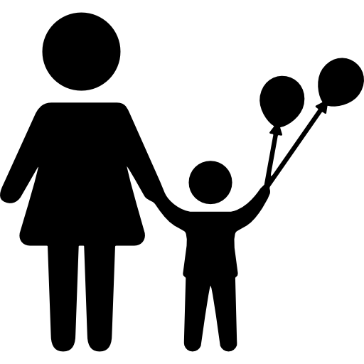 Mother And Child With Balloons
