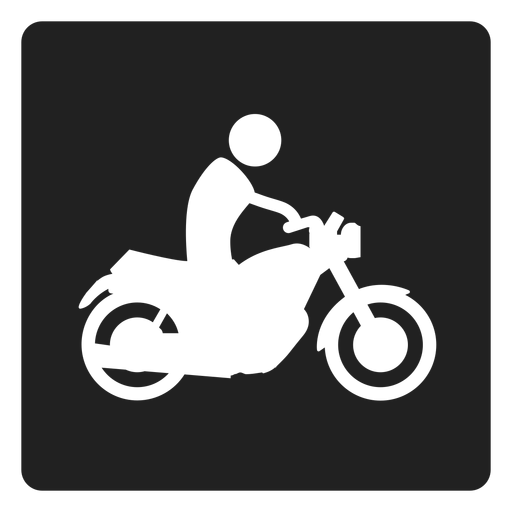 Man Riding A Motorbike Square Icon