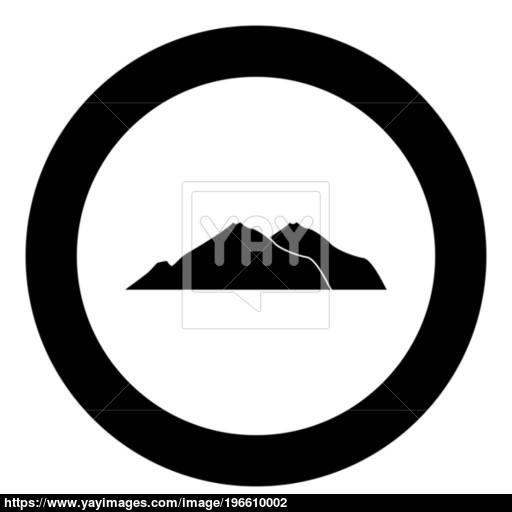 Mountan Black Color In Circle Vector