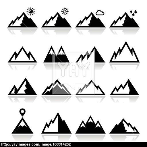 Mountains Vector Icons Set Tattoos Icon Set