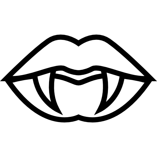 Mouth Lips With Fangs Outline