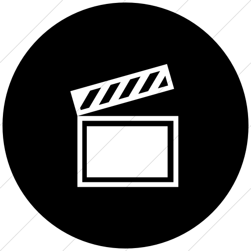 Flat Circle White On Black Classica Movie Clapper Icon