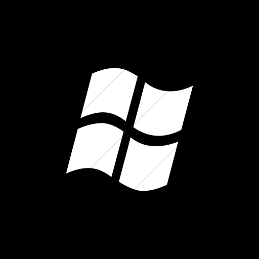 Flat Square White On Black Broccolidry Microsoft Icon