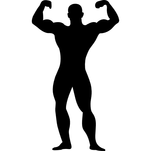 Muscular Man Flexing Silhouette Icons Free Download