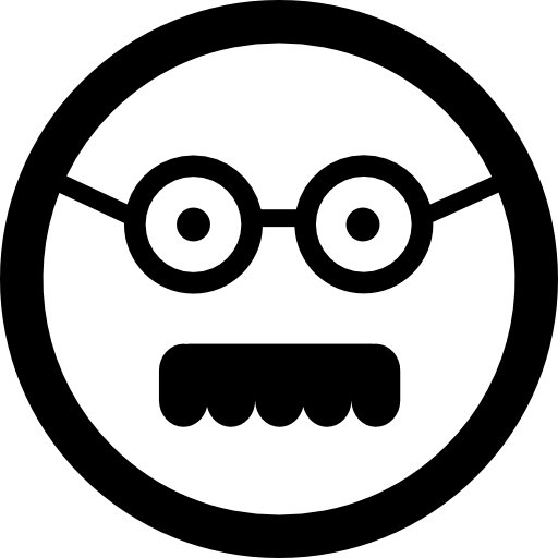 Male Square Face With Glasses And Mustache Icons Free Download