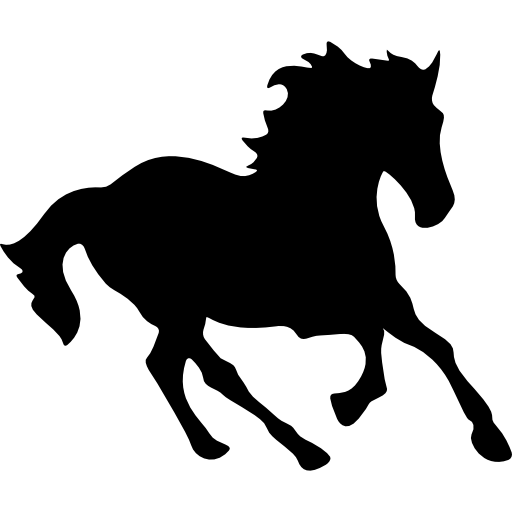 Horse Black Running Shape Icons Free Download