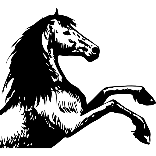 Horse Sketch Raising Feet Facing Right Icons Free Download