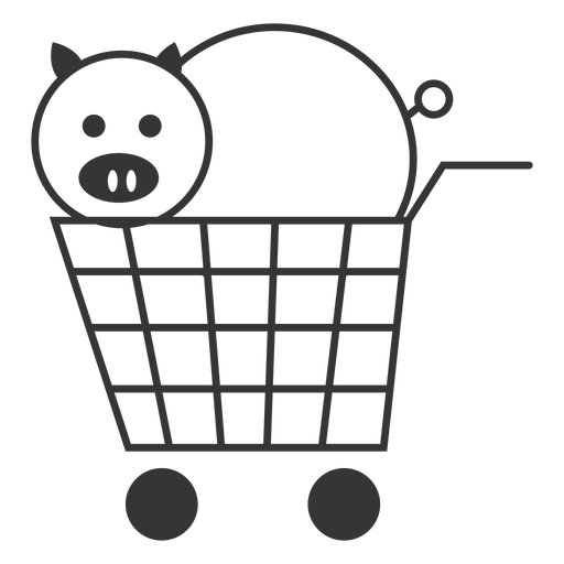 Pig In A Shopping Cart Icon