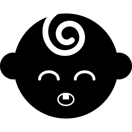 Black Baby Head With Closed Eyes