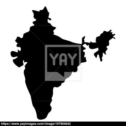 Map Of India Icon Black Color Illustration Flat Style Simple Image