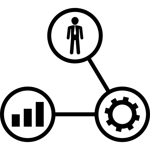 Human Linked To Cogwheel And Graphs Icons Free Download
