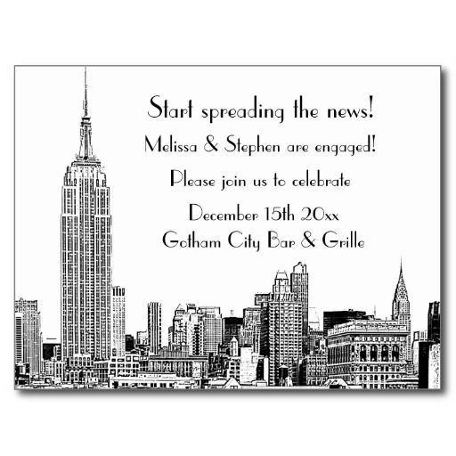 Nyc Skyline Etched Engagement Party Invitation Postcard