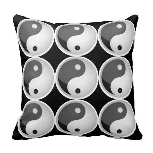 Black Grey Yin Yang Symbol Throw Pillow Symbols, Yin Yang