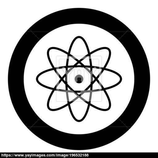 Atom Icon Black Color In Circle Or Round Vector