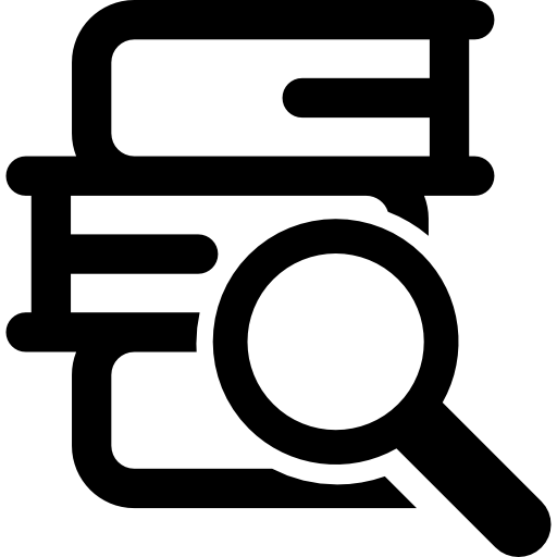 Stack Of Books And Magnifier Icons Free Download