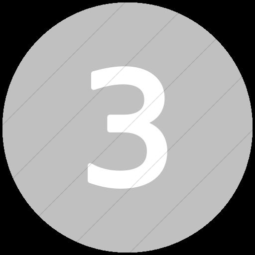Flat Circle White On Silver Alphanumerics Number Icon