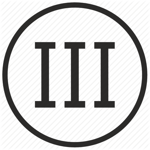 Number, Roman, Third, Three Icon