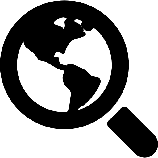 World Search Interface Symbol Of Earth Under A Magnifier Tool