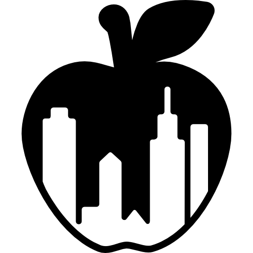 New York City Apple Symbol With Buildings Shapes Inside