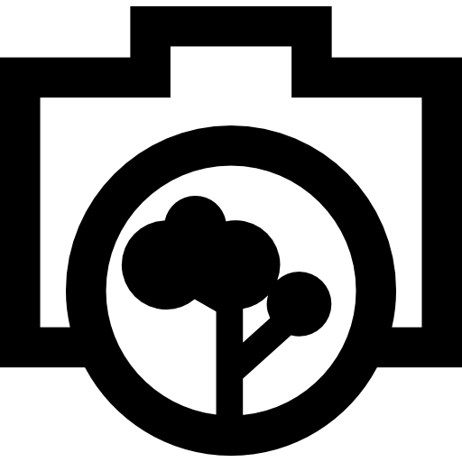 Photo Camera Outline With A Tree Objective Icons Free Download