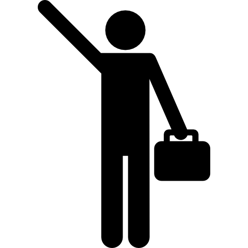 One Hand Up Office Worker