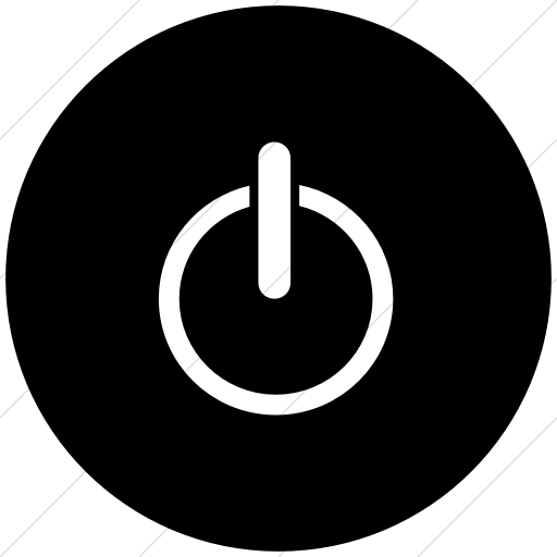 Flat Circle White On Black Classica Power On Off Icon