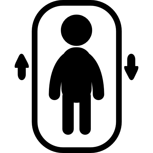 Elevator With One Person Inside And Up And Down Arrows