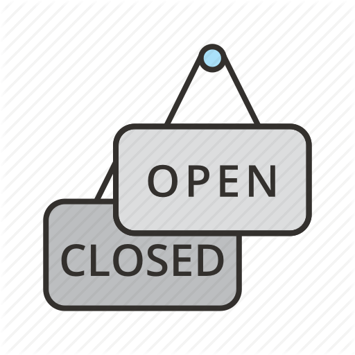 Closed, Label, Open, Restaurant, Shop, Sign, Store Icon