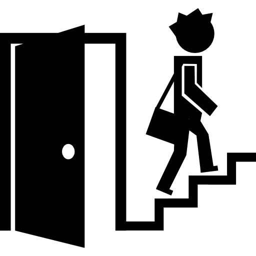 Open Door And A Student On Stairs Icons Free Download