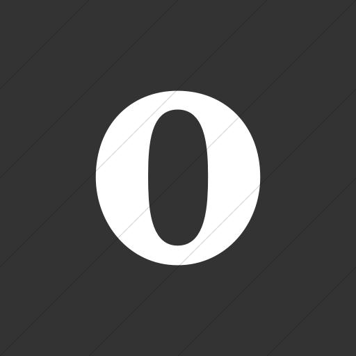 Flat Square White On Dark Gray Social Media Opera Icon