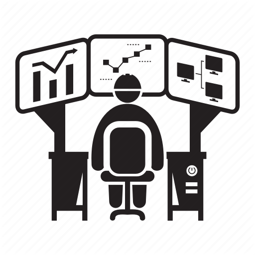 Analyst, Computer, Data Analysis, Monitoring, Operator Icon