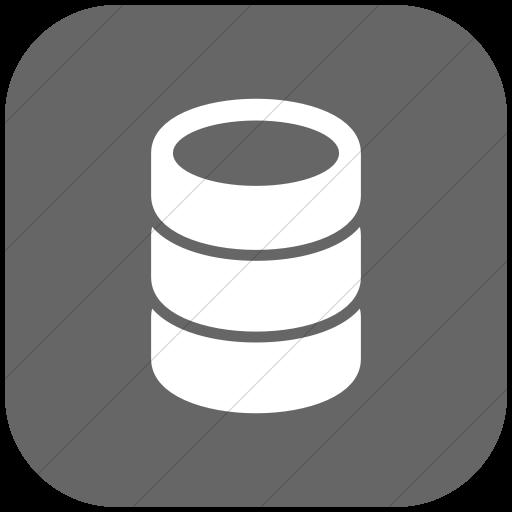 Flat Rounded Square White On Gray Raphael Database Icon
