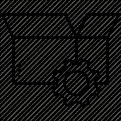 Box, Cog, Ecommerce, Order Management, Sales Icon