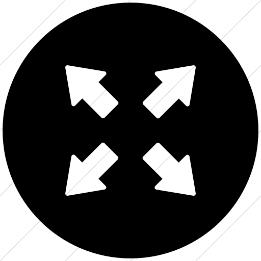 Flat Circle White On Black Foundation Arrows Out Icon