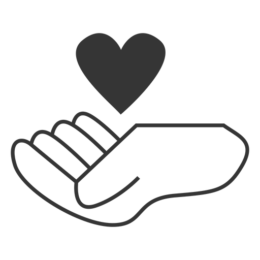 Floating Heart Over Hand Iine Style Icon